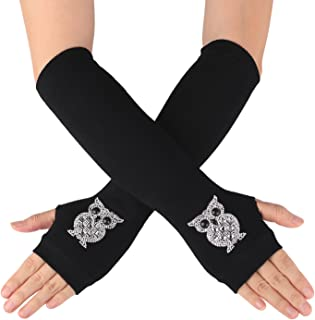 Flammi Women's Knit Arm Warmers with Thumb Hole Warm Fingerless Gloves Mittens for Halloween Party Daily Wear
