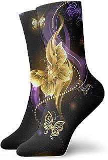 Novedad Divertido Crazy Crew Sock Magic Gold Mariposas Impreso Sport Calcetines deportivos Calcetines de regalo personalizados de 30 cm de largo