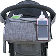 Stroller Organizer Bag by Subtle Baby - Insulated Cup Holders, Caddy, Large Mesh Pocket, and Storage for Bottles, Toys, Phone, Book, Diapers, Wipes - Fits City, Jogger, Double, Umbrella Strollers