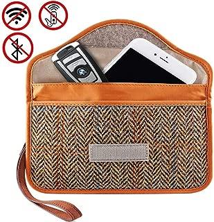MONOJOY Faraday Bag for Phone and Car Key Fob Signal Blocker Harris Wallet, Phone and Vehicle Keys RFID Pocket Radio Signal Blocking Brown Bags