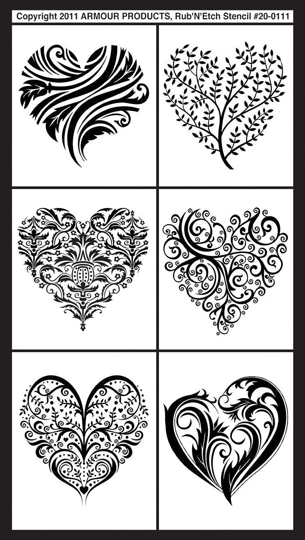 Armour Rub N Etch Stencil, Fancy Hearts