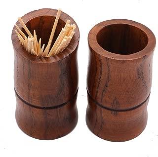 2 PCS Bamboo shaped Wood Toothpick Holder-Dark Brown