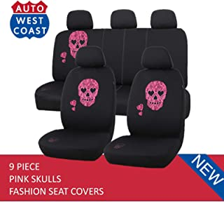 West Coast Auto Car Seat Covers Set for Cars, Trucks, Vans, SUV - Airbag Compatible (Polycloth) (Pink Skull)