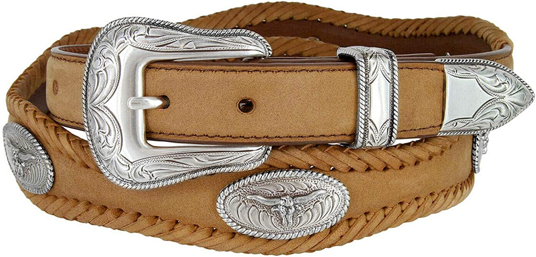 Longhorn Steer Gold Star Conchos Belt Cowg Year-end gift Western Cowboy Ranger Finally popular brand