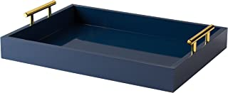 Kate and Laurel Lipton Decorative Tray with Polished Metal Handles, Navy Blue and Gold
