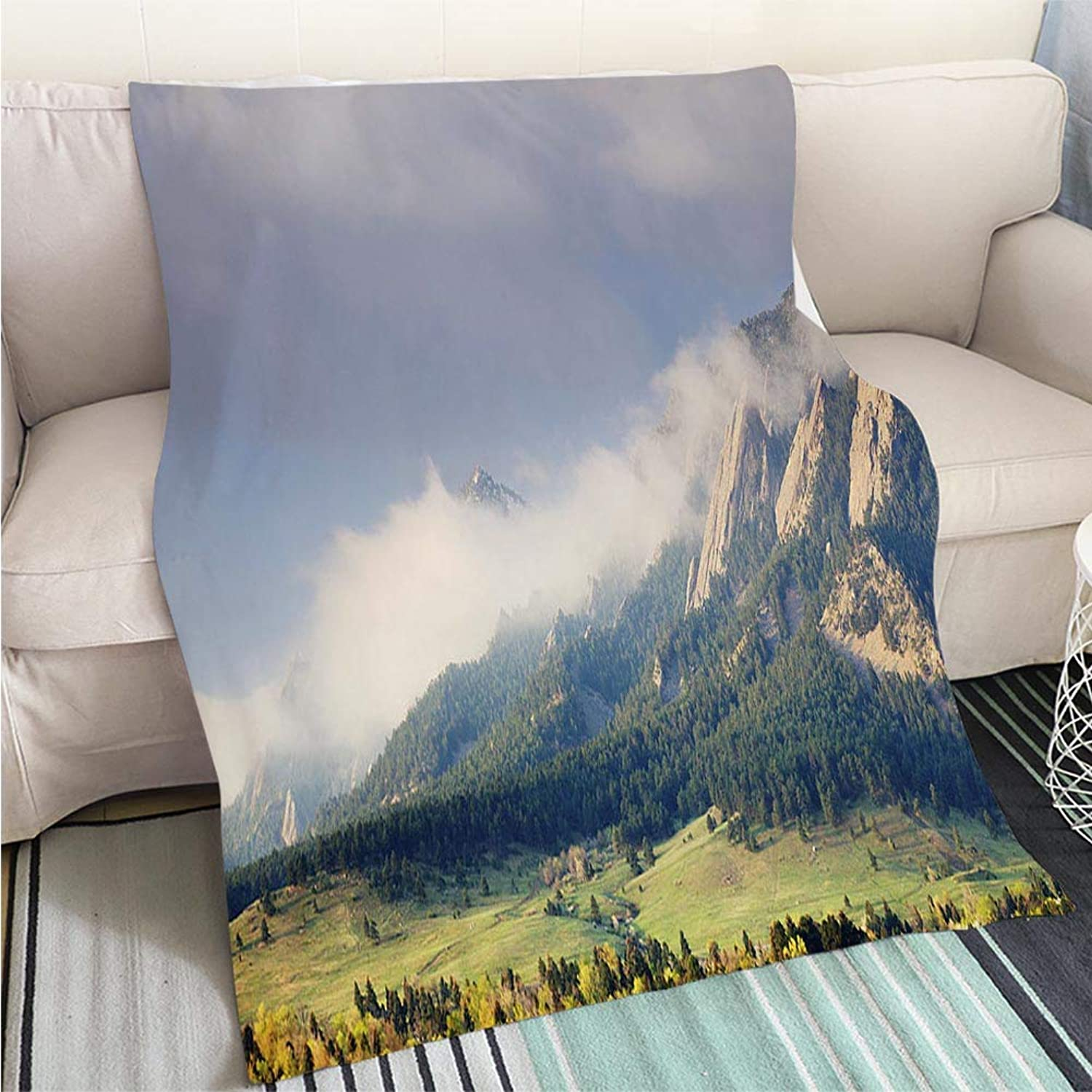 Comforter Multicolor Bed or Couch First Light on The Boulder colorado Flatirons Hypoallergenic Blanket for Bed Couch Chair