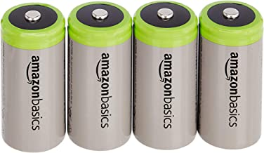 AmazonBasics D Cell Rechargeable Batteries 10000mAh Ni-MH (4-Pack)