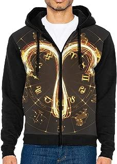 HEHE TAN Mens Pullover Hood Aries Constellation Zip Hoodies Hooded Cool Jackets Coats