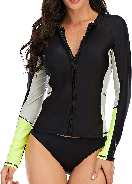 moily Women Two Piece Simmwear Long Sleeve Rash Guard Swimsuit Sun Protection Swim Shirt with Brief
