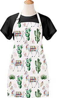 Claswcalor Cactus Cooking Aprons for Women, Cute Llama Kitchen Aprons, Waterproof Adjustable Baking Aprons