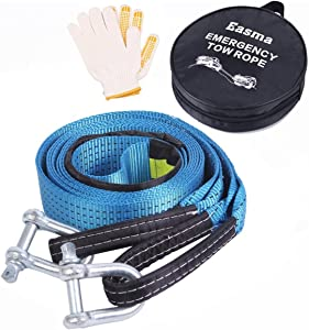 Tow Rope Easma Car Heavy Duty Recovery Tow Straps 17600Ib With Shackles 2 Anti-Proof Gloves