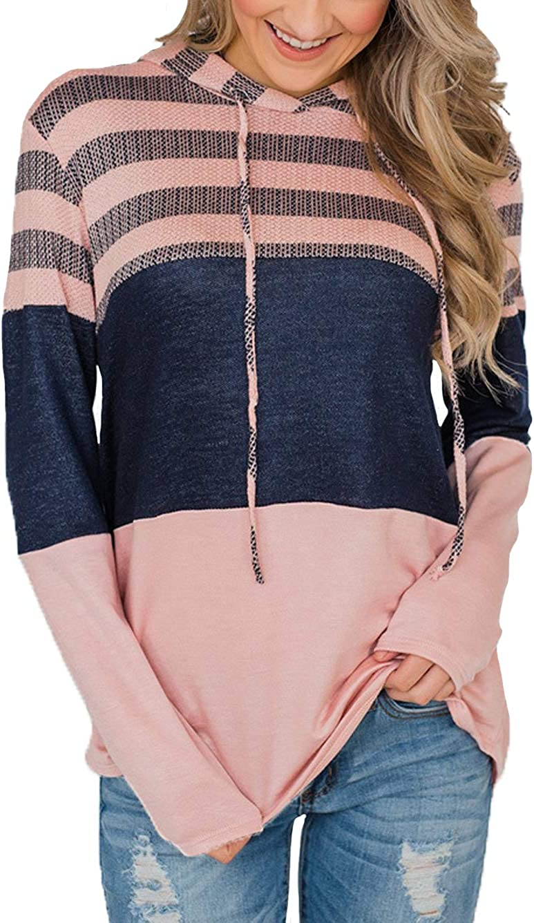 iChunhua Womens Long Sleeve Color Block Knited Hoodies Sweatshirts Stripes Casual Tunic Pullover Tops