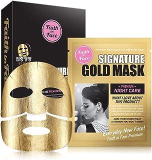 Faith in Face 10 Pcs Signature Gold Premium Night Care Foil Facial Sheet Mask Pack, Intensive Treatment Nourishing Essence...