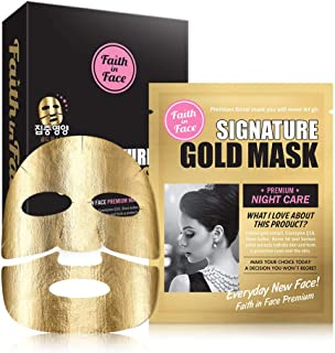 Faith in Face Signature Gold Premium Night Care Foil Facial Sheet Mask, Intensive Treatment Nourishing Essence Moisturizing Anti Aging Brightening Firming Radiance K Beauty Skincare, 10 Pack Count