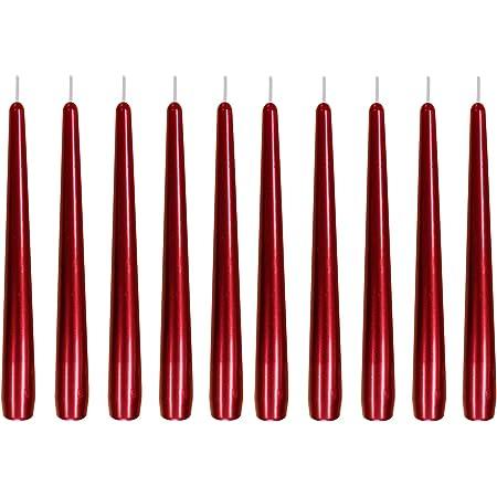 12 St/ück Gr/ö/ße ca Spitzkerzen Leuchterkerzen lackiert weinrot einzeln in Folie 22 x 240 mm Tafelkerze Stabkerze