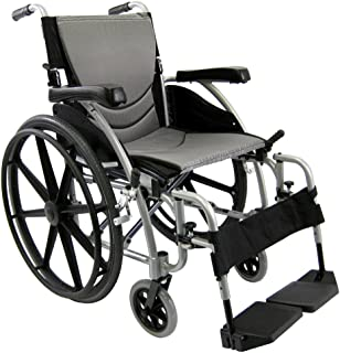 Karman Healthcare Ergonomic Wheelchair in 18-Inch Seat and Mag Wheels, Pearl Silver Frame