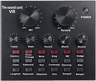 Ronshin V8 Multifunctional Live Sound Card USB Audio Interface Intelligent Volume Adjustable Audio Mixer Sound Card for Re...