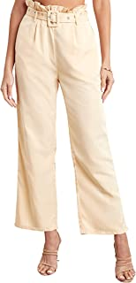 Plain Wide Leg Trouser with Eyelet Belt 80332402 For Women Closet by Styli