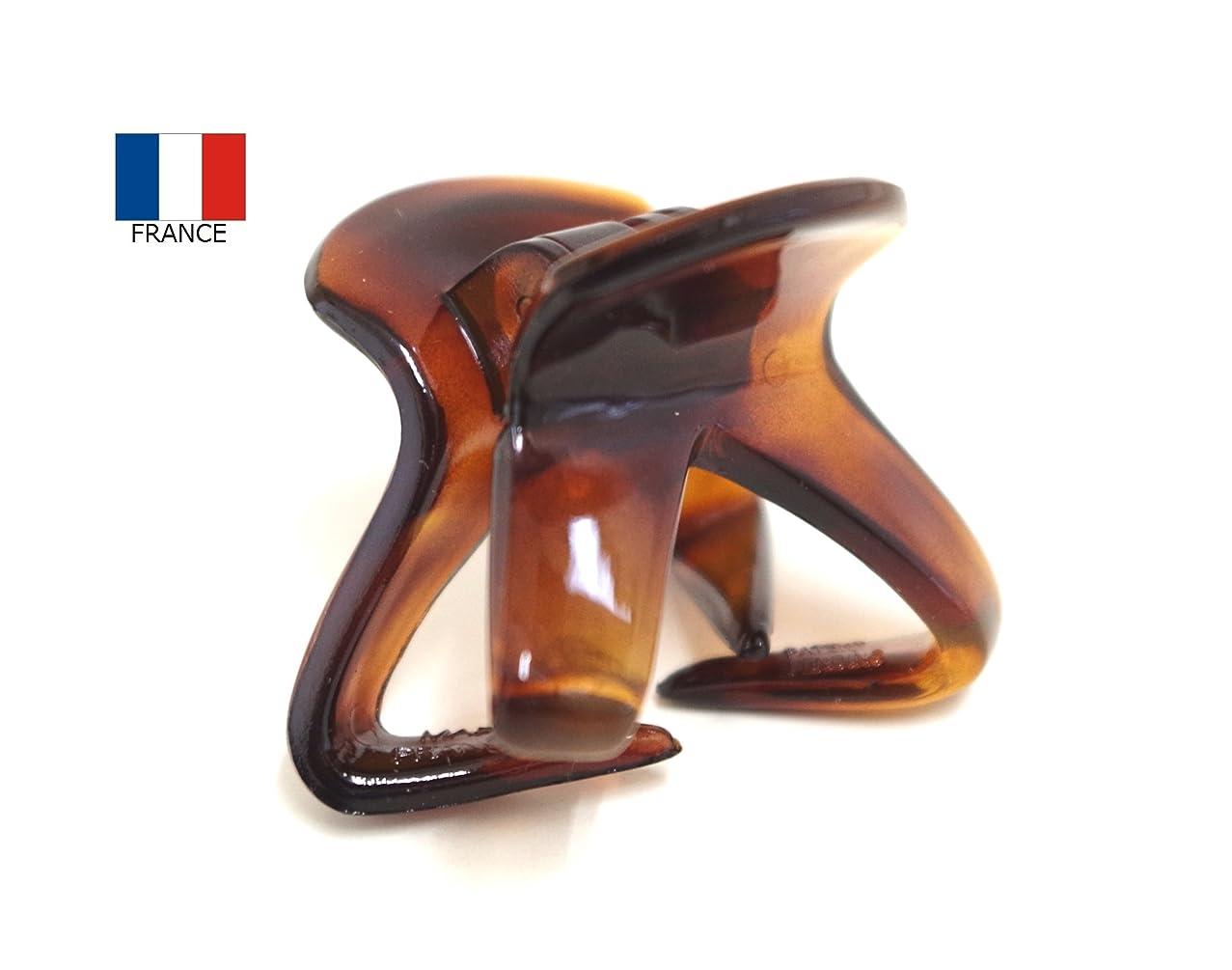静かな暴露両方フランス製ミニオクトパスバンスクリップ【ヘアアクセサリー】NO.863 (ベッコウ)