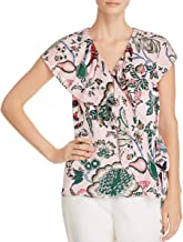 Tory Burch Womens Floral Side Tie Wrap Top