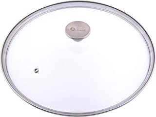 Victoria Glass Lid for 12 Inch Cast Iron Skillet, Frying Pan Lid with Stainless Steel Air Flow Knob