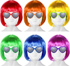 6 Pieces party wigs and sunglass set, neon short bob wig sunglass pack costume colorful cosplay wig daily party hairpieces...
