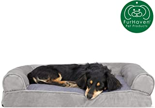 Furhaven Pet Dog Bed | Pillow Cushion Sofa-Style Traditional Living Room Couch Pet Bed w/Removable Cover for Dogs & Cats - Available in Multiple Colors & Styles
