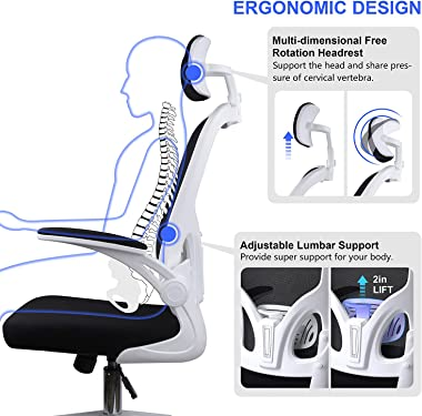 JAJALUYA Ergonomic Mesh Office Chair Home Desk Chair with Flip-Up Arms and Adjustable Headrest Swivel Desk Chair with Lumbar