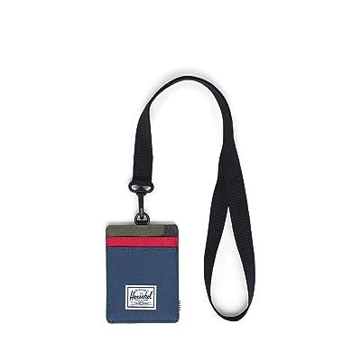 Herschel Supply Co. Charlie Wallet Lanyard RFID (Navy/Red/Woodland Camo Lanyard/Navy) Wallet Handbags