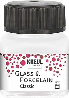 Kreul 16238 – Glass & Porcelain Classic métallisé blanc nacré, dans un verre de 20 ml, peinture brillante pour verre et po...