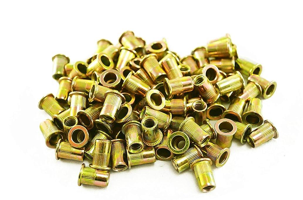 Lheng 100Pcs Pneumatic Tool Pull Nut Steel Rivet Nuts M4 X 11 (Carbon Steel/Color zinc)