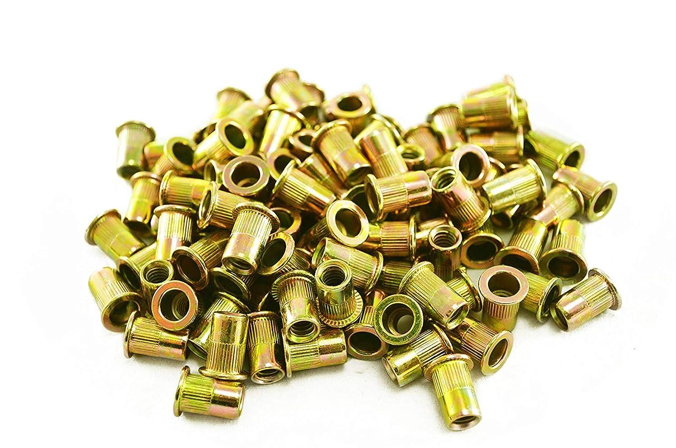 Liyafy 100Pcs Pneumatic Tool Pull Nut Steel Rivet Nuts M4 X 11 (Carbon Steel/Color zinc)