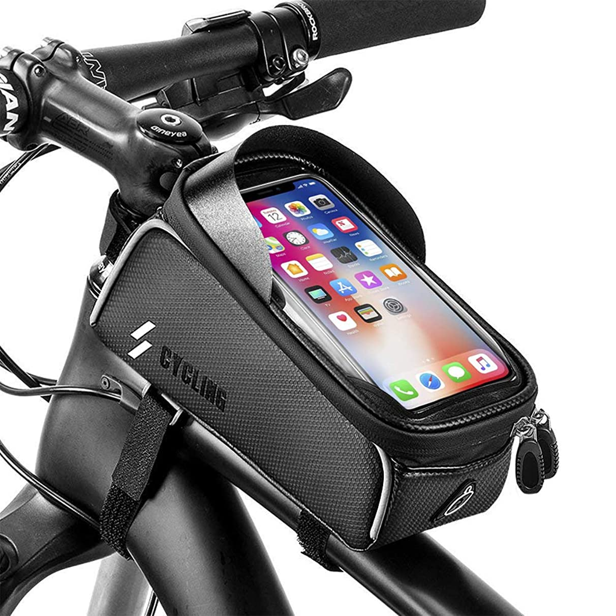 Bike Bicycle Phone Bags Waterproof - Front Frame Top Tube Mount Handlebar Bags with Touch Screen Phone Holder Case Sports Bicycle Bike Storage Bag Cycling Pack Fits iPhone 7 8 Plus xs max