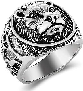 خاتم من الفضة الإسترلينية للرجال من خاتم على شكل أسد مصنوع يدويًا، خاتم على طراز البانك للدراجات النارية مصنوع من مادة الف...