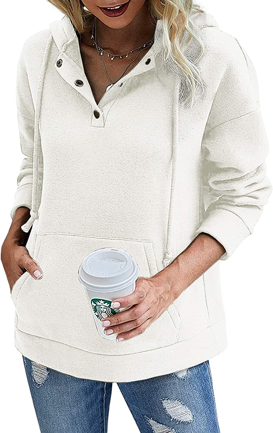 Womens Pullover Hoodies 1/4 Button Up Long Sleeve Casual Hooded Sweatshirts with Pocket