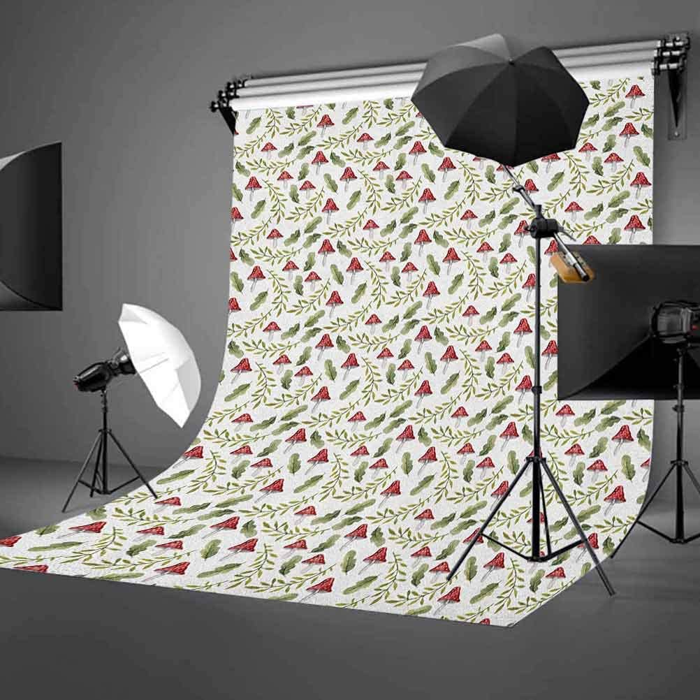 8x12 FT Mushroom Vinyl Photography Backdrop,Boletus Pattern Watercolor Fungus and Foliage Leaves Autumn Background for Baby Birthday Party Wedding Studio Props Photography