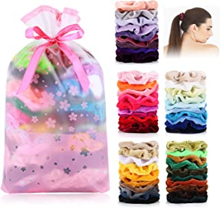 DazSpirit 50 Scrunchies Velvet Pack- Hair Scrunchies For Girls Or Woman- Vsco Stuff Visco Girl Stuff Hair Accessories Scrunchies Cheap Pack