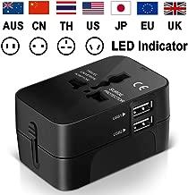 Adaptateur de Voyage, Adaptateur Universel Prise pour Anglaise/Americaine/Europe/Australie Plus de 150 Pays Adaptateur Chargeur avec 2 Ports USB Multifonction -Noir
