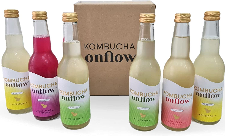 Kombucha Onflow - Té Kombucha Sabor Manzana y Canela, Cítricos, Té Verde, Mango y Remolacha - Pack de 6 x 33 cl - Bebida Vegana, Ecológica y Orgánica - En Base a SCOBY - Elaborado en España