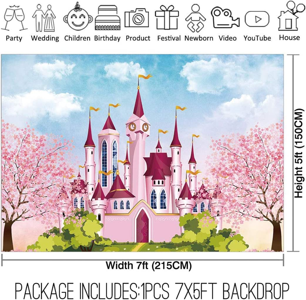 Allenjoy 8x8ft Fabric Royal Pink Castle Backdrop Supplies for Newborn Kids Girls Princess 1st Birthday Party Decorations Baby Shower Cake Smash Studio Portrait Photography Props Photoshoot Pictures