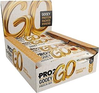 PRO 2GO High Protein Gooey Bar Box, Peanut & Milk Chocolate Flavour, Pack of 12 x 60g bars