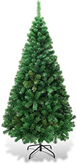 Goplus Artificial Christmas Tree Xmas Pine Tree with Solid Metal Legs Perfect for Indoor and Outdoor Holiday Decoration (Green, 5 FT)