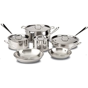 All-Clad D3 Stainless Cookware Set, Pots and Pans, Tri-Ply Stainless Steel, Professional Grade, 10-Piece -