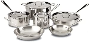 All-Clad D3 Stainless Cookware Set, Pots and Pans, Tri-Ply Stainless Steel, Professional Grade, 10-Piece - 8400000962