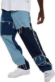 Minetom Jeans Uomo Slim Fit Pantaloni Casuale Allentato Patchwork Pantalone Denim Pants con Tasche Streetwear
