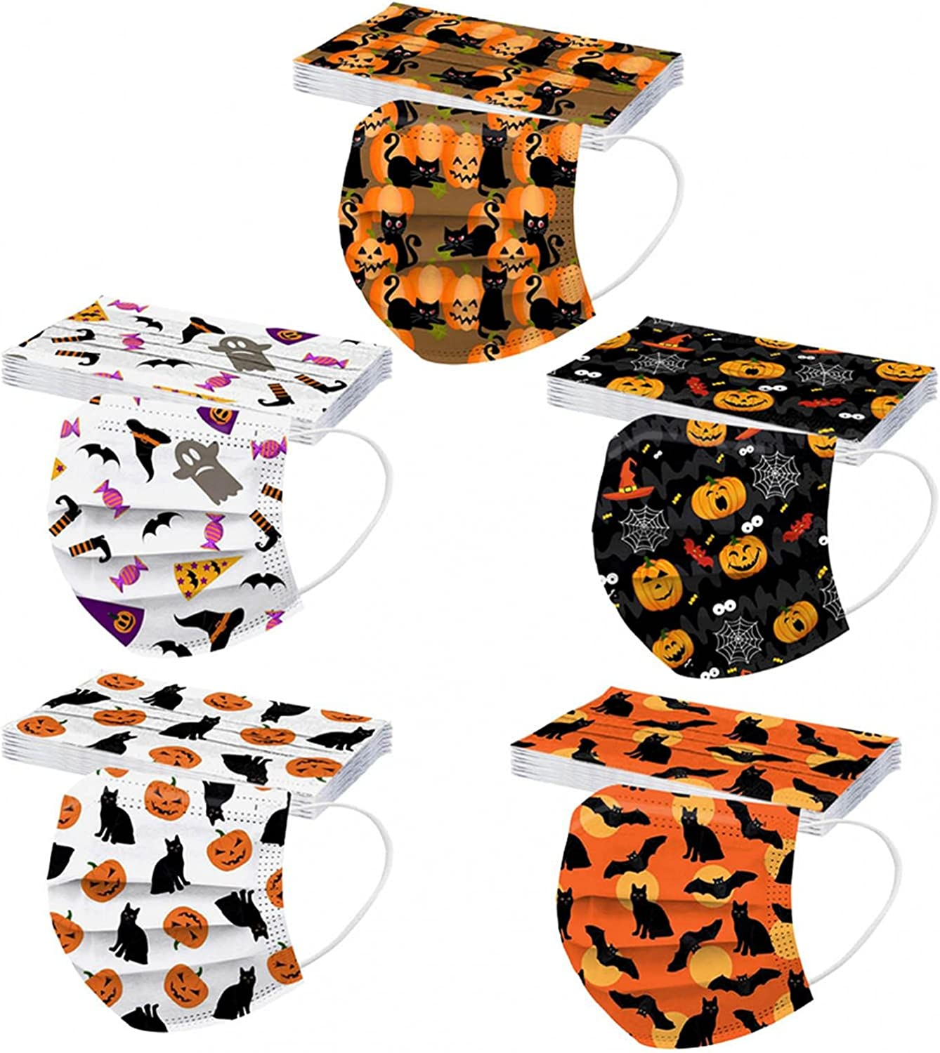 Brand new 50PC Face_Masks for Kids Max 67% OFF Disposable_F Halloween Ghost Patterned