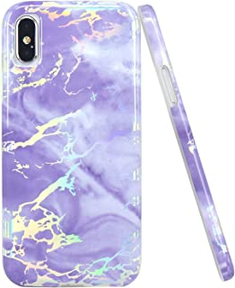 JAHOLAN Compatible iPhone X Case iPhone Xs Shiny Holographic Purple Marble Design Clear Bumper Glossy TPU Soft Rubber Silicone Cover Phone Case - Silver