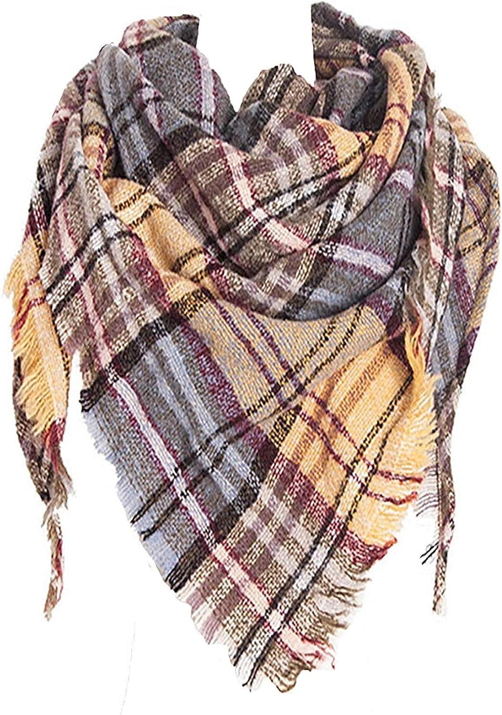 Neck Warmer Soft Scarf Fashion Scarves MKLP Tassel Scarf Winter Ladies Scarf Large Warm Shawl Plaid Scarf Large Shawl Keep Warm and Prevent Cold Shawl