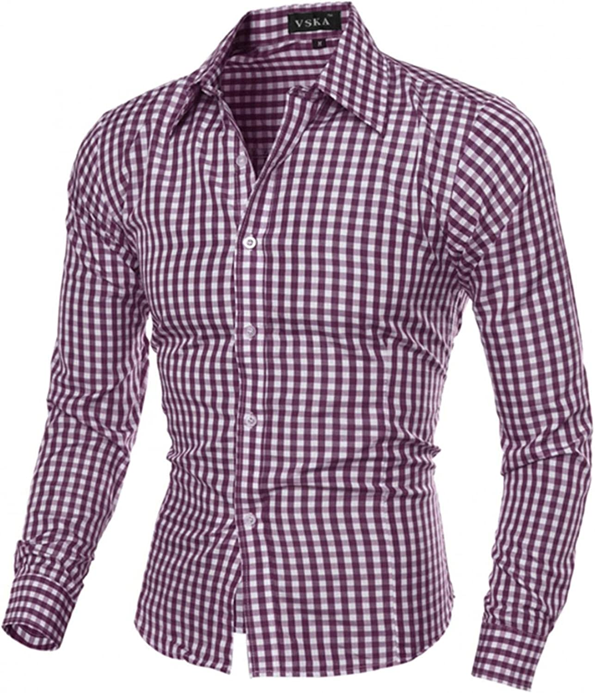 Men's Plaid Dress Shirt Long Sleeve Shirt Slim Fit Button Down Top Blouse Fall& Winter Friend Gift
