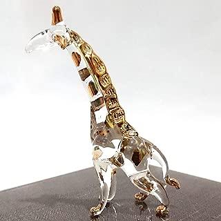 Sansukjai Giraffe Miniature Figurines Animals Hand Blown Glass Art 22k Gold Trim Collectible Gift Decorate, Clear Gold